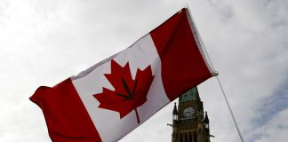 A Canadian flag with a marijuana leaf on it is seen during the annual 4/20 marijuana rally on Parliament Hill in Ottawa, Ontario, Canada, April 20, 2017 © Chris Wattie / Reuters