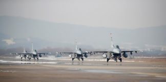 US Air Force F-16 fighter jets take part in joint aerial drills called 'Vigilant Ace' with South Korea at its Osan Air Base in Pyeongtaek. December, 2017 : Reuters : © Kim Hong-Ji