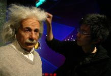 a wax model of mathematician Albert Einstein at the Madame Tussaud's in Shanghai ©Aly Song : Reuters