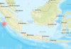 The site of Saturday's earthquake off Indonesia © Indonesia Tsunami Early Warning System / BKMG