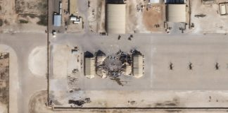This satellite image released by Planet Labs Inc. reportedly shows damage to the Ain Al-Asad US airbase in western Iraq, after being hit by rockets from Iran, January 8, 2020. © AFP / Planet Labs Inc. Handout
