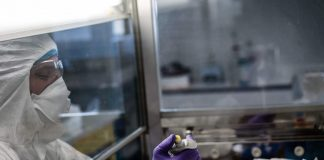 A scientist at the VirPath laboratory in Lyon, France on February 5, 2020. JEFF PACHOUD/AFP via Getty Images