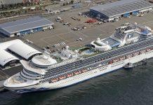 The Diamond Princess cruise ship is seen docked at Yokohama Port on Friday. Credit: Sadayuki Goto/Kyodo News/AP
