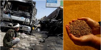 FILE PHOTOS: (L) A man sits by the wreckage of a truck after it was blown up with an improvised explosive device amid fighting in Yemen's capital Sanaa; (R) A farmer holds wheat grain near Ashby-de-la-Zouch, England. © Reuters / Khaled Abdullah; Reuters / Darren Staples